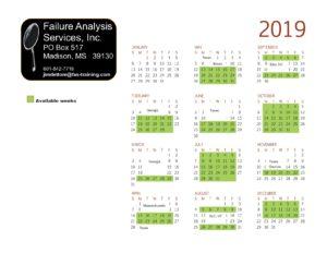 2019 Available weeks Calendar